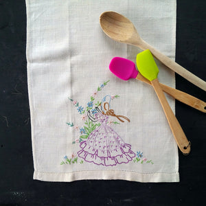 Vintage Embroidered Linen Tea Towel - Girl in Dress Picking Flowers