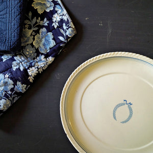 Rare Monticello Dinnerware Platter - Blue Laurel Wreath - 1940s Steubenville Pottery for Herman C. Kupper