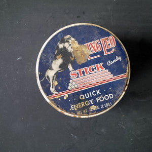 Vintage 1950s Candy Tin - Pure King Leo Stick Candy for Quick Energy - Made by Standard Candy Company - Nashville