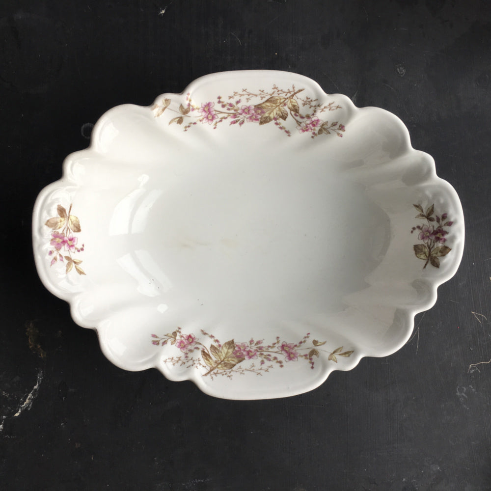 Antique Lazarus Straus & Sons Vegetable Dish with Scallopped Edges and Purple Flowers