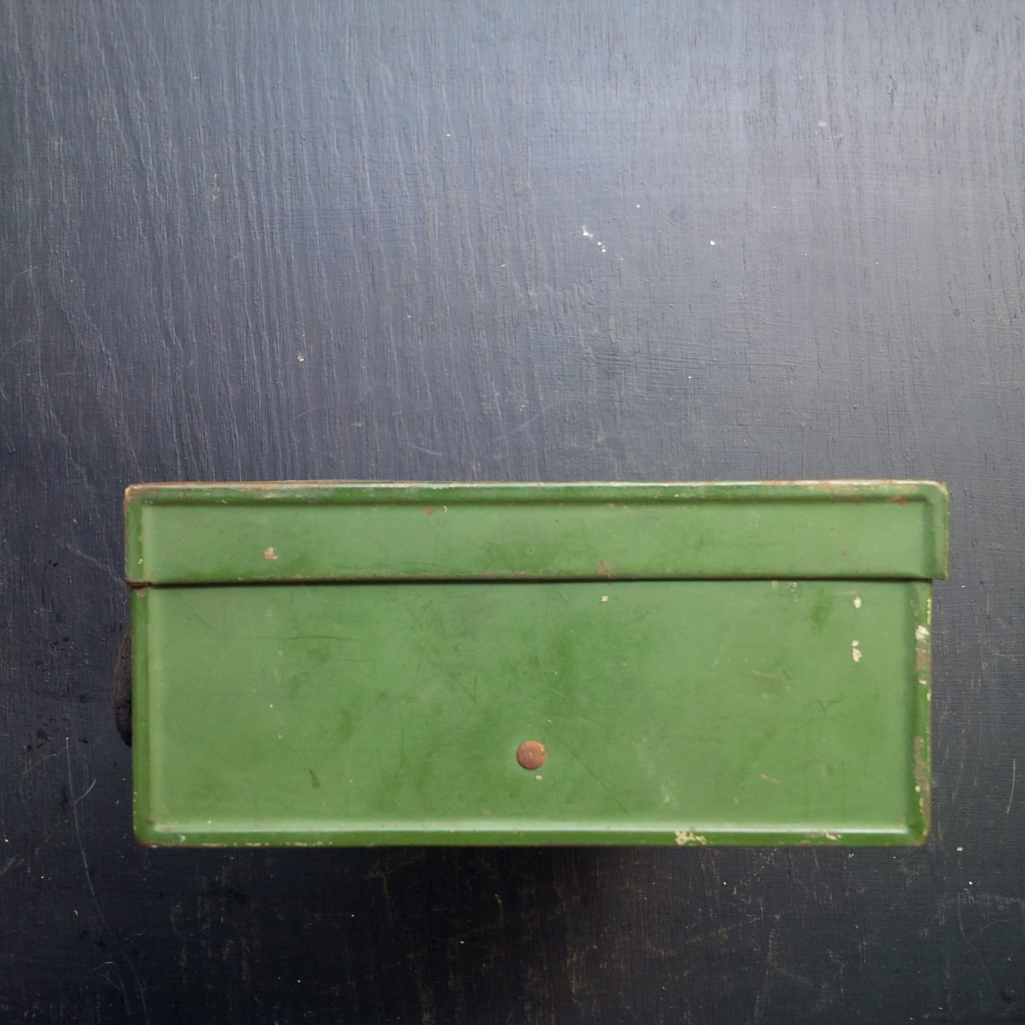 Vintage Metal Lunch Box - 1920's Sectioned Box - Chippy Green and Gold with Leather Handle