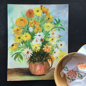 Vintage 1960s Floral Still Life Painting - 16x20 - Signed by the Artist - Floral Folk Art