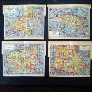 Antique Street Maps of Paris with Metro Stops - Toutain Editeur - Four Available