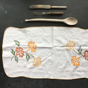 Vintage Embroidered Kitchen Linen - Marigold Flowers - Cross Stitch Embroidery