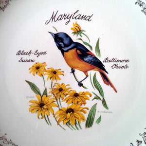 Maryland Souvenir Plate - Vintage 1960s - Featuring Black Eyed Susans & the Baltimore Oriole