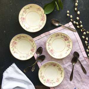 Vintage 1940's Flowering Branch Dessert Bowls - Harmony House Maytime Pattern