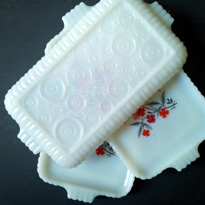 Fire King Snack Trays - Primrose Pattern - Early 1960's - Set of 3 Vintage Stacking Dishes