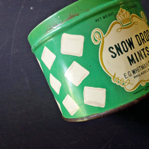 Vintage 1950's Snow Drop Mints Tin - E.G. Whitman & Co Philadephia - 6oz Size