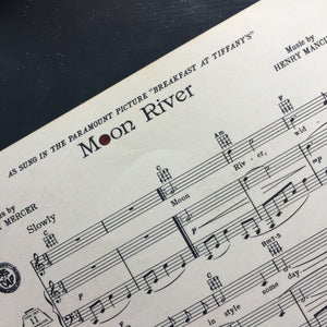 Vintage 1960s Moon River Sheet Music from Breakfast at Tiffany's
