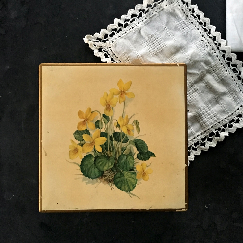 Vintage Italian Wood Box with Yellow Flowers - Made by Mottahedeh for Storage, Display and Keepsakes