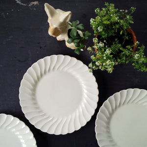 Vintage Midcentury Myott Staffordshire Dinner Plates - Olde Chelsea Pattern - All White Dishware Made in England