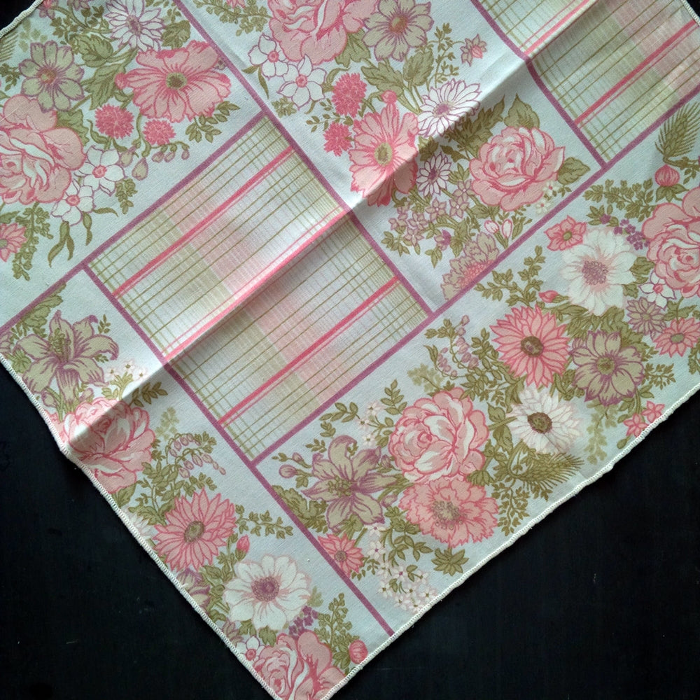 Vintage Pink Floral Cloth Napkins - Large Dinner Size, Pink, Green, Lavender Stripes & Flowers - Set of 10