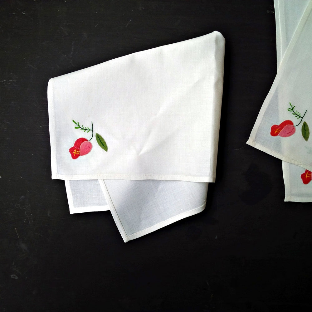 Vintage European Cotton Napkins - Set of 4 - Pink Floral on Bright White