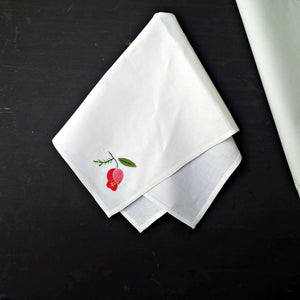 Vintage European Linen Napkins - Set of 4 - Pink Floral on Bright White
