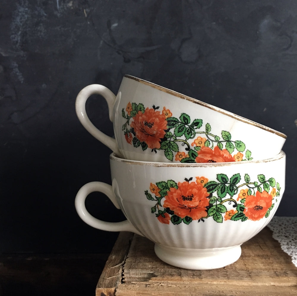 1920's Poppy Flower Teacups - National Ivory - Orange Red Poppy Floral Pattern - Set of 4