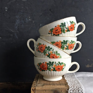 1920's National Ivory Teacups - Orange Red Poppy Flower Pattern - Set of 4