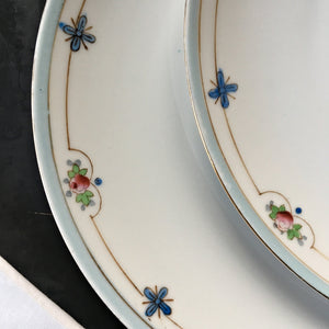 Antique Nippon Porcelain Luncheon Plates - Set of Two Handpainted Floral Dishware