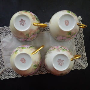 Vintage Noritake Teacups Handpainted in the 1940s - Pink Florals, Gold Handles