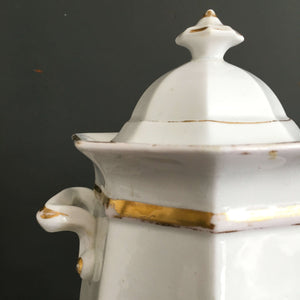 Antique Ironstone Sugar Bowl - Octogan Shape with Handles and Lid - Gold Detailing