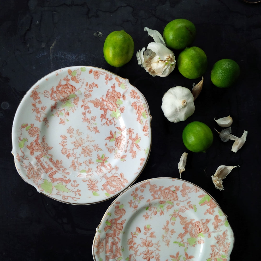 Rare Antique Orange and Green Floral Porcelain Plates - Asian Pattern - Set of Two