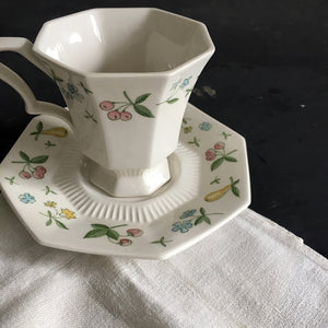 Vintage Independence Ironstone Teacup and Saucer - Old Orchard Pattern - 1960s Interpace China
