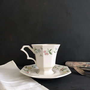 Vintage Independence Ironstone Teacup & Saucer - Old Orchard Pattern - 1960s Interpace China