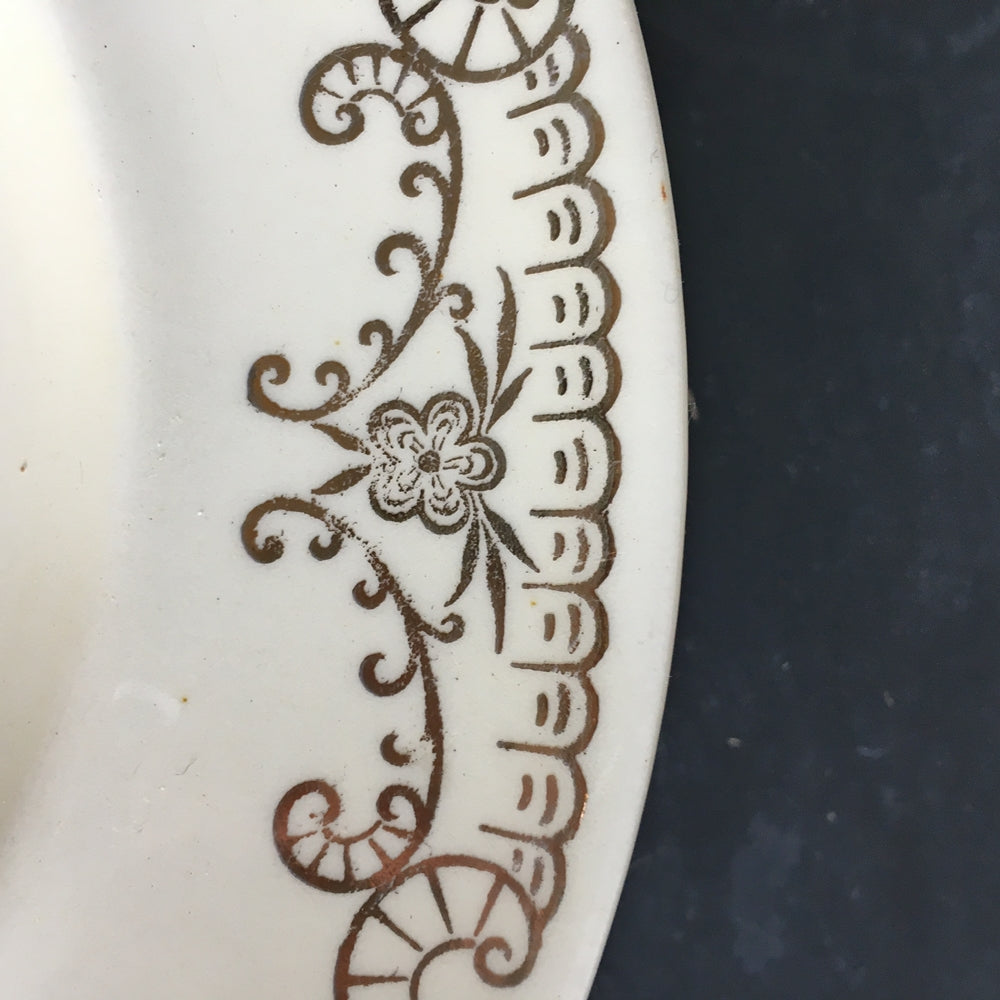 Vintage 1940's Paden City Pottery Platter - Ivory with Gold Floral Swags