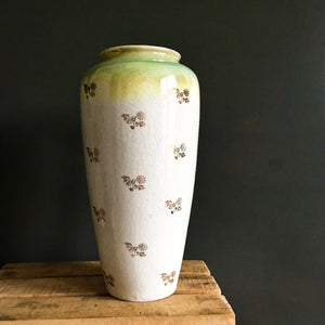 Tall Antique Lustreware Vase with Pansy Flowers and Gold Transferware