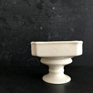 Vintage White Pedestal Vase Planter - Petite Garden Pot - Shabby Chic Home Decor