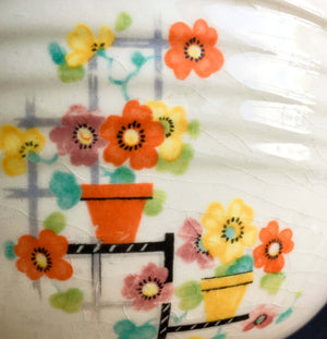 Edwin Knowles Penthouse Pattern Bake Oven Bowl -  Rare 1930's Art Deco Small Mixing Bowl