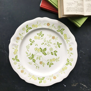 Vintage 1970s Floral Cake Plate Chop Platter - Petite Flora Interpace Ironstone - Made in Japan for Sears