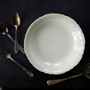 Pope Gosser Soup Bowl - Louvre Pattern - 1930's All White Dishware