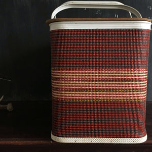 Vintage 1960s Redmon Picnic Basket - Large Red and Beige Striped Basket Loom Woven with Metal Handles