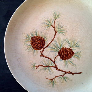 French Saxon Pine Cone Luncheon Plate - Rare 1950's Vintage Dishware