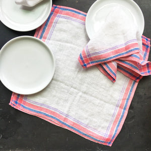 Vintage Pink  and Blue Striped Linen Napkins - Set of Four - 12x12 Square