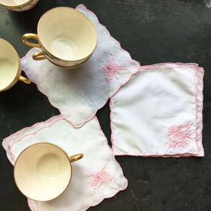Vintage Pink and White Embroidered Cocktail Napkins - Set of 8 - Floral Embroidery