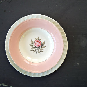 The Pink Lady Collection - 1940s Mismatched Vintage Plates and Bowls - Set of 4 Pieces
