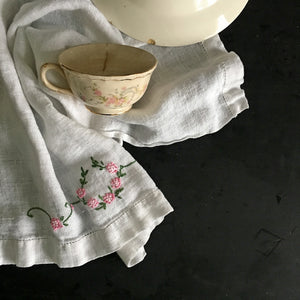 Vintage Embroidered Tea Towel - Pink Flowers Green Leaves - Linen Hemstitch