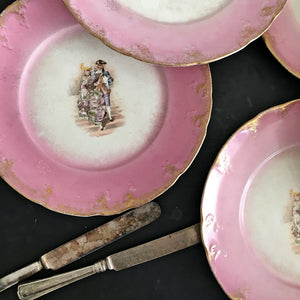 Set of Six Antique French Luncheon Plates - Rococo Portrait Couple - Pink and Gold with Embossed Edge-  Made in France