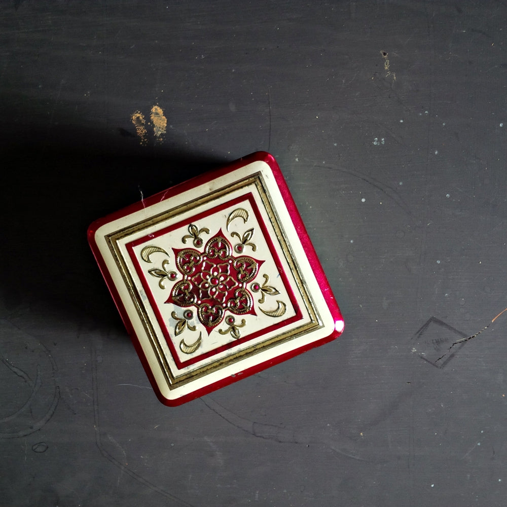 Vintage 1960's Pink & Gold Tin Box - Made in Holland - Square