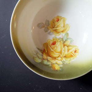 1920s Bavarian Porcelain Bowl - Yellow Rose Pattern - Made in Germany, PK Unity