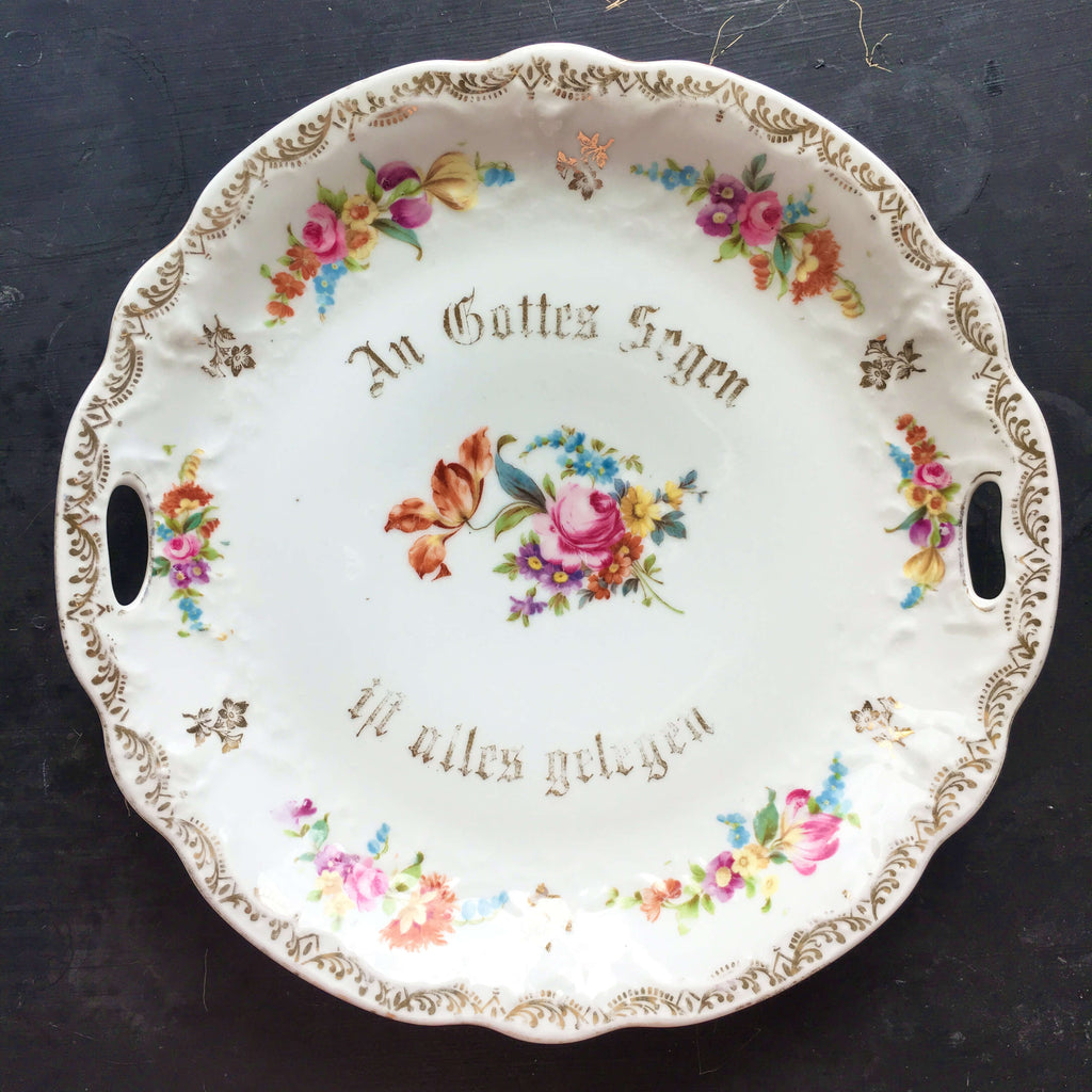 Antique German Blessings Wall Plate - An Gottes Segen - Floral Porcelain
