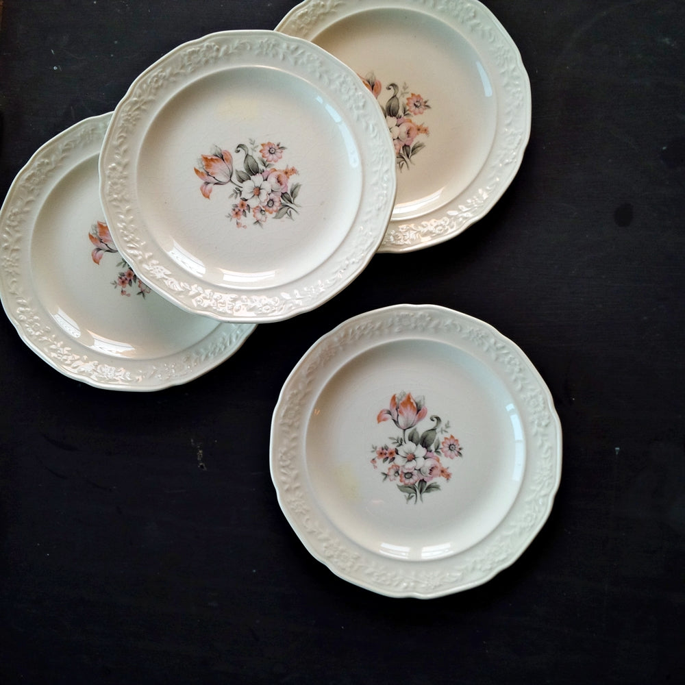 1940s Pink and Grey Floral Bread & Butter Plates - Crown Potteries USA 5 48- Made in Indiana - Set of 4