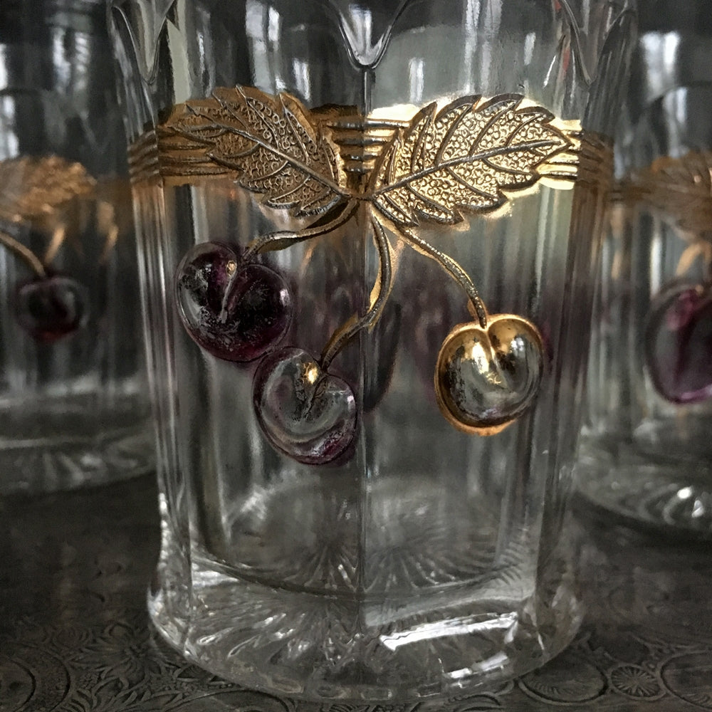 Rare Antique Glass Tumbler Glasses - Northwood Plums and Cherries - Set of 4 - Circa 1906