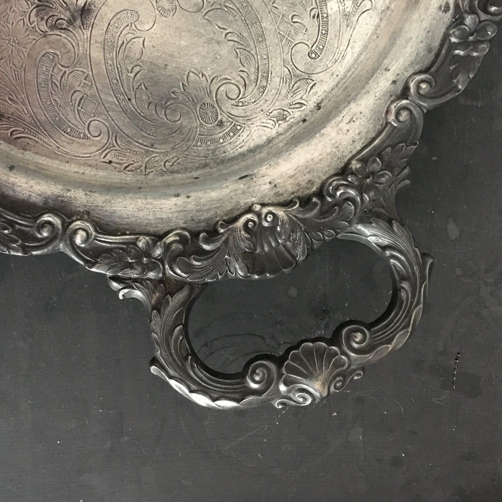 Vintage Tarnished Oval Silverplate Footed Serving Tray with Handles - Made by Bristal Poole Silver - EPCA