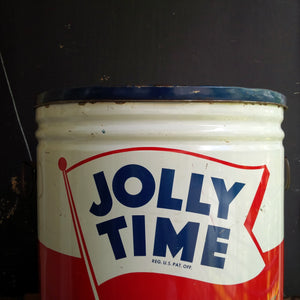 Vintage Jolly Time Popcorn Tin - 1940s Popcorn Seasoning Container 50lb Bulk