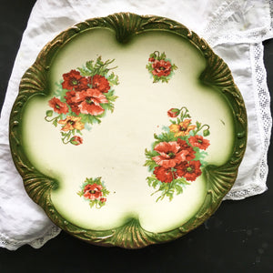 Antique Red Poppy Floral Plate with Green Scalloped Edge and Gold Spray