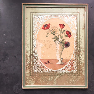 Vintage 1940s Framed Poppy Flower Art - Time Weathered Condition - Disintegrating Art