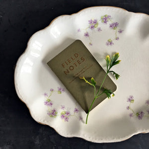 Antique Floral Fluted Platter with Violets - Lavender Purple Flowers, Green Leaves and Fluted Rim
