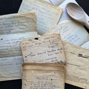 Vintage Handwritten Southern Recipes circa 1960's - Bundle of 53 Looseleaf Recipes